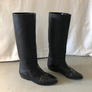 Vintage Woven Black Leather Boots 7